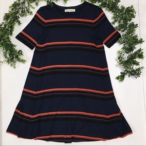 {LOFT} Navy Striped T-Shirt Dress